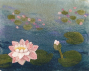 Artfelt Water Lily picture felt kit- a carefully designed felting kit to make a Water Lily picture inspired by Monet with online tutorial.