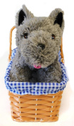 KANSAS GIRL CUTE DOG IN BASKET FANCY DRESS ACCESSORY - GREY TERRIER PLUSH TOY DOG TOY TOTO FANCY DRESS ACCESSORY - PERFECT FOR BOOK WEEK OR FILM/MUSICAL FANCY DRESS COSTUMES