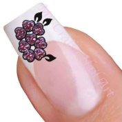 Pink Flower Glitter Adhesive Nail Stickers Art