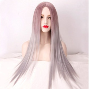 Royalvirgin Pink Grey Mix Colour Ombre Wig For Women Long Straight Costume Heat Resistant Silver Wigs Synthetic Hair Wigs Party Perucas Pelucas