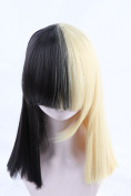 Cool2day Ladies Wigs Short Blonde Black Straight Wig Sia Cosplay Costume Party + free cap