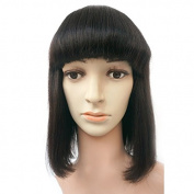 Enoya 100% Brazilian Remy Human Hair Wigs With Bangs Glueless Machine Made Full Wig Human Hair Wigs Yaki Short Bob Wig With Combs For Women