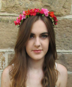 Red Pink Orange Headband Wild Rose Flower Hair Crown Garland Vintage Leaves Festival S19 *EXCLUSIVELY SOLD BY STARCROSSED BEAUTY*