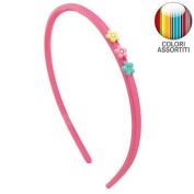 126 - 702 Rubber Hair Band Girl cm 0.5 with Rhinestone - Cerchietti for Hair Flowers Girls Headbands Girl fuchsia