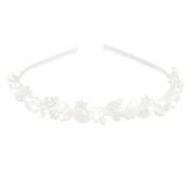 LUOEM Crystal Rhinestone Pearl Tiara Bridal Hairband Wedding Flower Headband Hair Loop Sliver