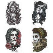 COKOHAPPY Day of The Dead Temporary Tattoo , 4 Different Sheets Owl Rose Skull Virgin Mary