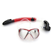 Diving Masks Face Mirror Snorkels Glasses Full Dry Type QPM2001 red
