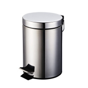 Stainless Steel Trash Cans With Household Kitchen And Bathroom Living Room Foot Bucket Barrels,7L