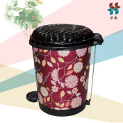 Home Fashion Plastic Foot Pedal Kitchen Bathroom With A Trash Can,Red