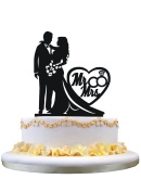 Wedding Cake Topper Silhouette Bride and Groom with Mr & Mrs