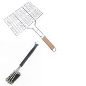 Stainless Steel Barbecue Net Folder Three Barbecue Brush 2 Pieces