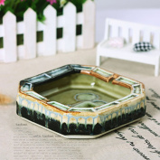 NAUY- Fashion Personality Creative Ceramic Ashtray Home Furnishings Jingdezhen Blue And White Hand Painted Large Ornaments(16*16*4cm)