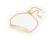 Fronay Collection Beckids Fine Silver Jewellery for Teens - Silver Gold Plated 35 mm Bar Bracelet Adjustable Size