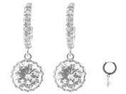 Fronay Collection Silver Rhodium Plated CZ Huggies with Big CZ 10 mm Hanging