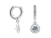 Fronay Collection Silver Rhodium Plated CZ Huggies with CZ 6 mm Hanging