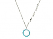 Fronay Collection Silver Rhodium Plated Circle Pendant Nano Turquoises Necklace 15.5 Plus 5.1cm .