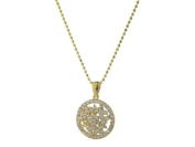 Fronay Collection 18K Gold Plated Sterling Silver Sublime CZ Circle Pendant Necklace 41cm .