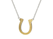Fronay Collection Lucky Platinum & Gold Plated Sterling Silver CZ Horseshoe Pendant