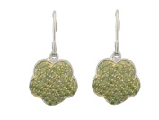 Fronay Collection Sterling Silver Fluttering Green CZ Flower French Clasp Dangle Earrings