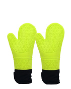 Silicone Oven Mitts, Quilted Cotton Lining Gloves 1 Pair,Green