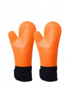 Silicone Oven Mitts, Quilted Cotton Lining Gloves 1 Pair,Orange
