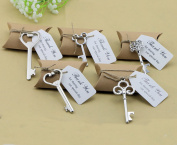 50pcs Wedding Favours Candy Box w Skeleton Key Bottle Openers Escort Cards Thank You Tag Pillow Box