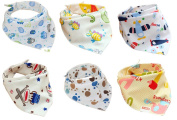 Jiexi® 6pcs 100% Cotton 32*43cm Unique Baby and Toddler Bandana Bib Set Kit with Adjustable Straps Dribble Bibs For Boys & Girls