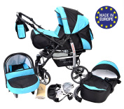 3-in-1 Travel System incl. Baby Pram with Swivel Wheels, Car Seat, Pushchair & Accessories, Black & Turquoise