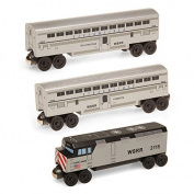Casey Jones F-40 3pc. Streamliner Passenger - Wooden Toy Train Set by Whittle Shortline Railroad