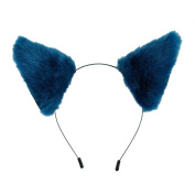 E-TING Cat Fox Fur Ears Headband Anime Party Costume Dark Blue with Black Inside