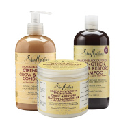 Shea Moisture Jamaican Black Castor Oil Combination Pack – Strengthen, Grow & Restore System – 480ml Shampoo, 380ml Conditioner & 470ml Leave-In Conditioner