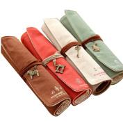 Eforstore 4 Pcs Pastorable Canvas Pen Bag Pencil Case Cosmetic Makeup Bag Pouch