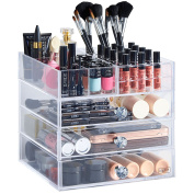 Beautify Large Clear Acrylic Cosmetic Makeup Organiser Stand with 3 Drawers, 21 Lipstick Holders & 6 Individual Upper Storage Sections