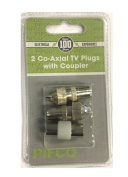 2x Co-axial TV Plugs Male with Coupler TV Aerial Socket Connector