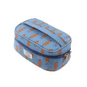 Fieans Nylon Makeup Bag Cosmetic Bag Travel Makeup Bag Hand Bag Tool Storage-Blue