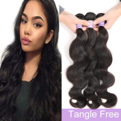Kapelli Hair(TM) Brazilian 7A Body Wave Unprocessed Virgin Remy Wavy Human Hair extensions Weave Weft 3 Bundles/lot, 300 Gramme 25cm - 80cm Natural Colour