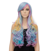 Netgo Colourful Rainbow Lollita Wig Long Wavy Synthetic Fibre Costume Wig for Cosplay Halloween Party