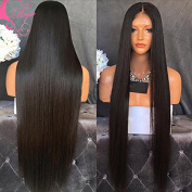 Rongduo Yi Brazilian Virgin Human Hair 130%Density Natural Black Colour Silk Straight Glueless Lace Front Wigs with Natural Hairline for Black Women