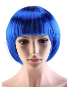 S-noilite Women Short Straight BOB Hair Wigs Cosplay Costume Party Fancy Dress Synthetic Full Bangs Wig Blue