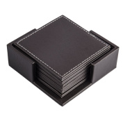 FOKOM 6 Pack Coaster Cup Mat Cup Tray With Holder Organisor-Coffee