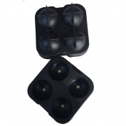 Touch Life Fast-Release 4 Balls Flexible Soft Silicone Ice Ball Maker Mould Round Spheres Tray Black