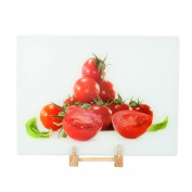 "Multi-functional Tempered Glass Cutting Chopping Board Kitchen Surface Chef Board 11""x 15"" 30x40cm Juicy Tomatoes"