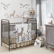 Lambs & Ivy Meadow 3 Piece Crib Bedding Set, Cream/Brown/White