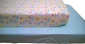 LuxClub Baby Crib Sheet 2 Count Pack - Monkey Print and Blue Solid Set