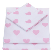 NoJo 3-Piece Toddler Sheet Set, Pink & White Hearts, Pink/White, 130cm x 70cm