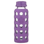 Lifefactory 270ml Glass Bottle with Flat Cap and Silicone Sleeve - Grape