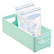 mDesign Baby Food Storage Organiser Bin for Breast Milk, Formula, Sippy Cups - 25cm x 10cm x 7.6cm , Light Mint Green