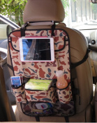 Car Seat Side Back Organiser Hanging Bag Holder Multi-Pocket Storage Container Pouch Snacks Drinks iPad Hanger Tablet Holder Auto Heavy Duty Backseat Content Bags Box with Hanging Hook, Camo Brown