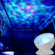GlowSunny Hypnosis Ocean Wave LED Projector Night Light With Music Player Remote Control for Bedroom Living Room