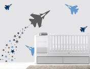 Aeroplanes And Stars - Baby Boy - Wall Decal Nursery For Home Bedroom Children (70 Ene)